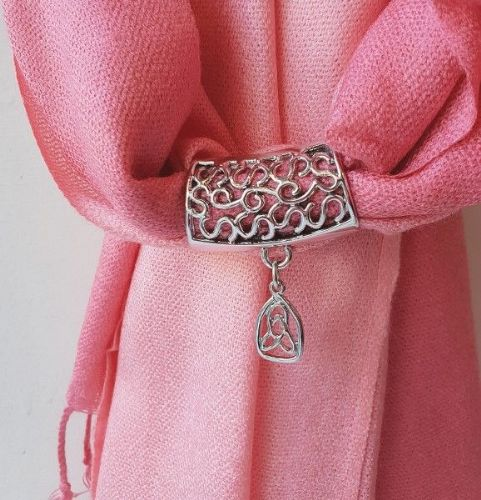 Pink Pashmina with Celtic Trinity Knot Scarf Ring